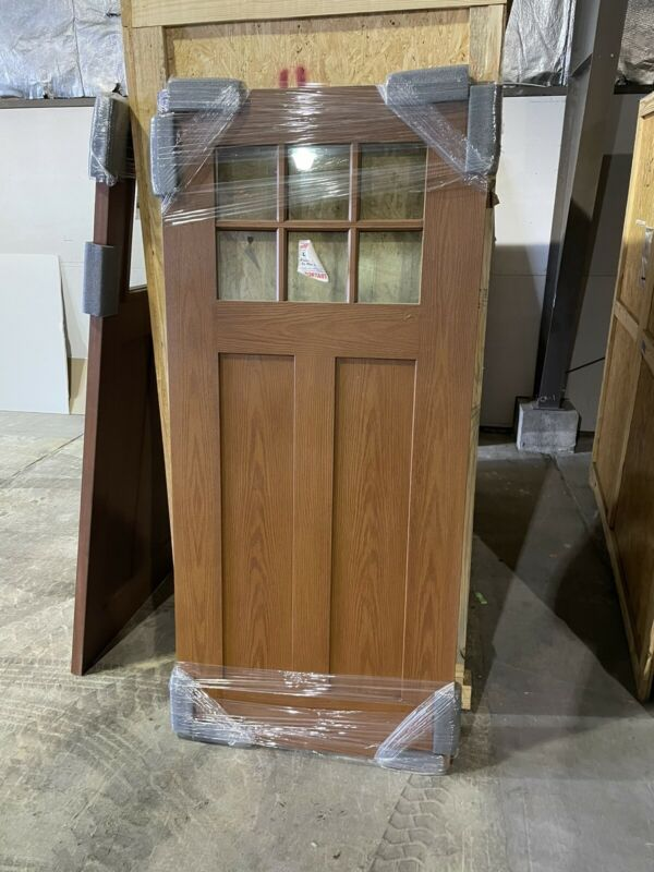 "Quarter Lite Solid Door, exterior slab, 36"" x 80"" Decorative Glass - Divided Lte"