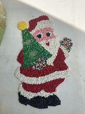 Popcorn Plastic Vintage Santa Claus With Tree Star Topper Decoration Wall Window