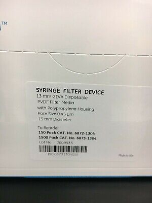 Whatman Syringe Filters Pvdf 25mm 0.45um Pore 150 Ct Box Item 6872-2504
