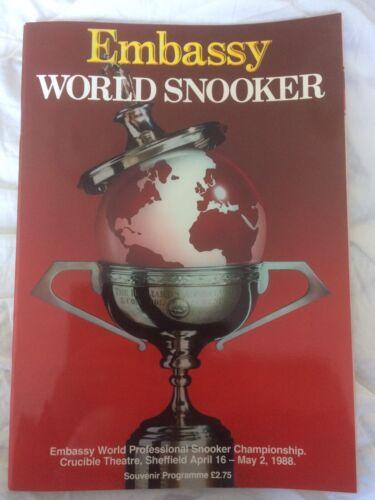 Embassy World Snooker Programme 1988 Rare