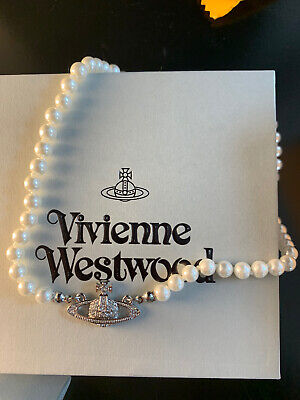 Vivienne Westwood Silver Orb Pearl Choker Necklace