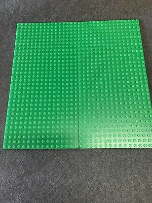 "Lego Lot of 2 Green Flat Thin Base Plates 16X32 Dot Studs #3857 5"" x 10"""