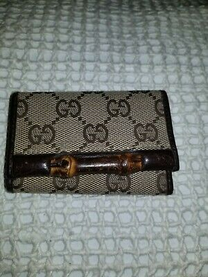 Gucci Key Case Holder Bamboo Brown Authentic Accessories Vintage