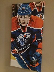 Nugent-Hopkins Oilers wall canvas print on wood