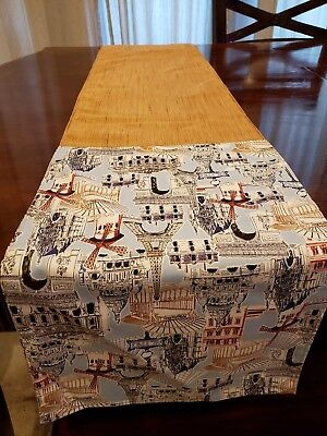 Table runner in Baby blue Eiffel Tower pattern with gold rayon designer fabric.