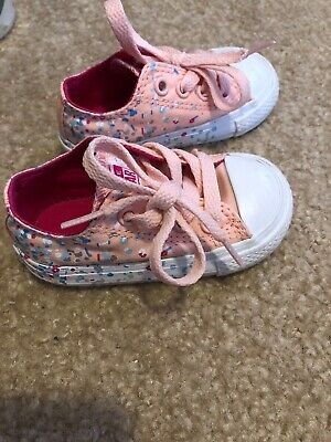 Converse All Star Baby Girl Sz 4 Pink 'Paint Spray' Confetti Athletic Shoes