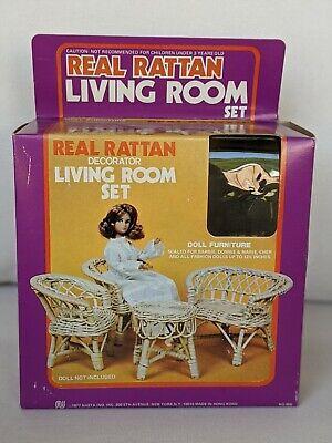 1977 Vintage Barbie Doll Size Furniture - Rattan Bamboo 4 Piece Living Room Set