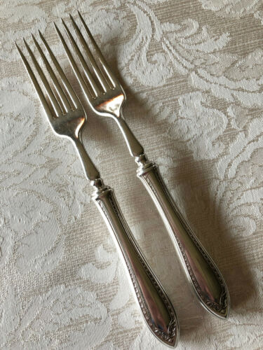 COMMUNITY SILVER SHERATON PAIR OF HH HOLLOW HANDLE DINNER FORKS EXCELLENT!
