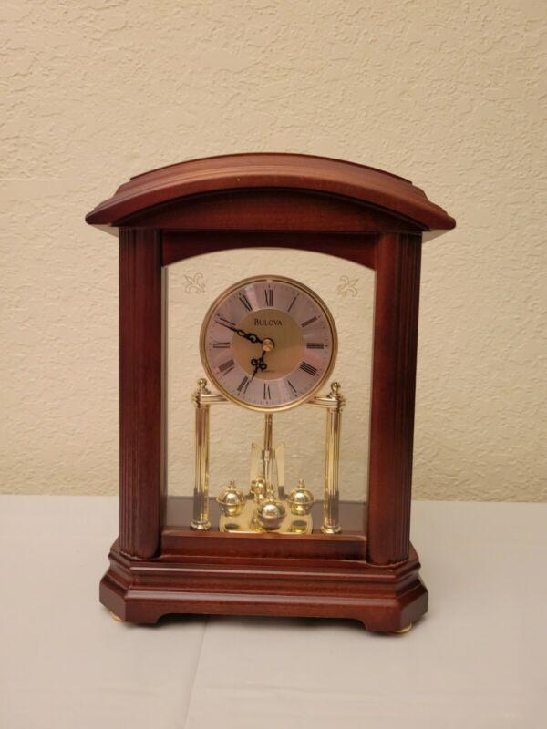 Bulova B1848 Nordale Clock, Walnut Finish, Spinning pendulum