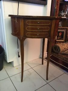 Two antique French oval side table with drawers