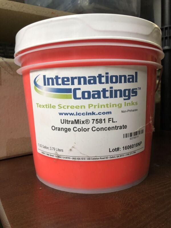 International Coatings Textile Screen Printing Inks UltraMix 7581 FL. Orange