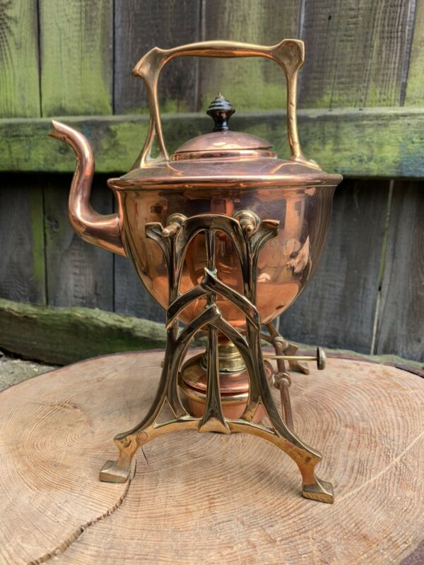 ANTIQUE art nouveau COPPER & BRASS SPIRIT KETTLE arts crafts Dresser style stand