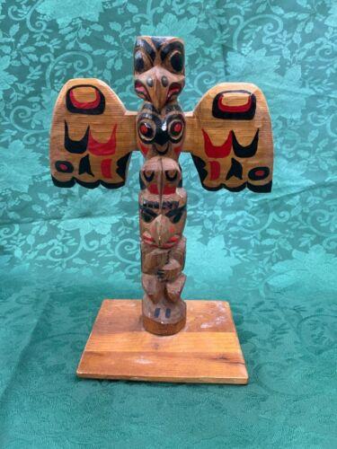 Vintage Hand Carved Totem Pole Northwest Coast Circa 1950