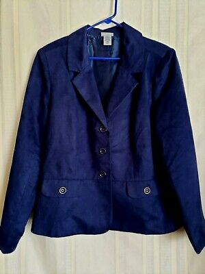 Vicki Wayne Blazer Jacket Size 16W Navy Blue 3 Button Fully Lined EUC
