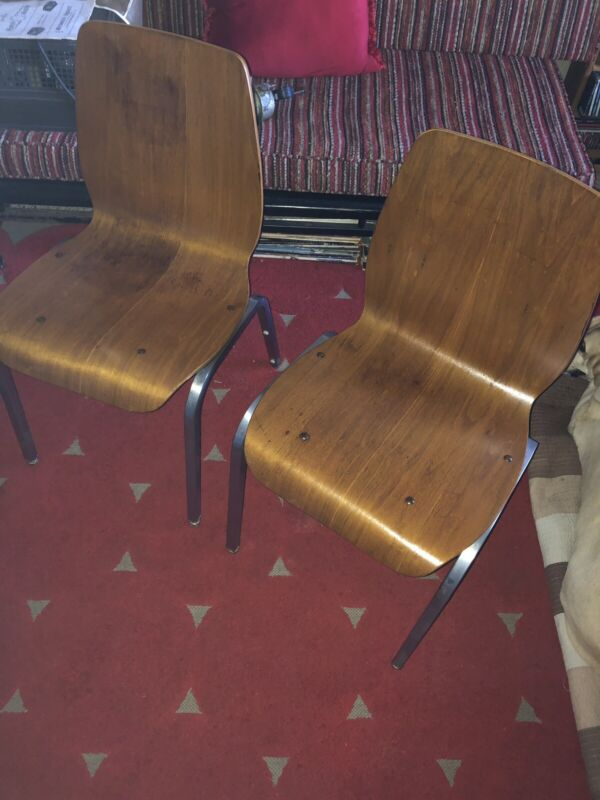 Pair Rare Vintage 1950's Dining Chair Friso Kramer Jean Prouve Bent Plywood