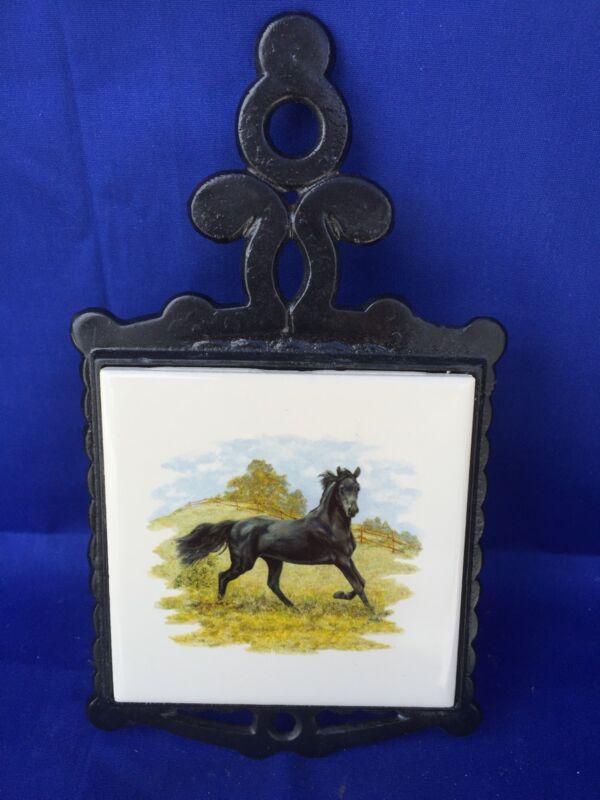 Antique Home Hearth PRIMITIVE Black Stallion Cast Iron Estate Trivet Ceramic