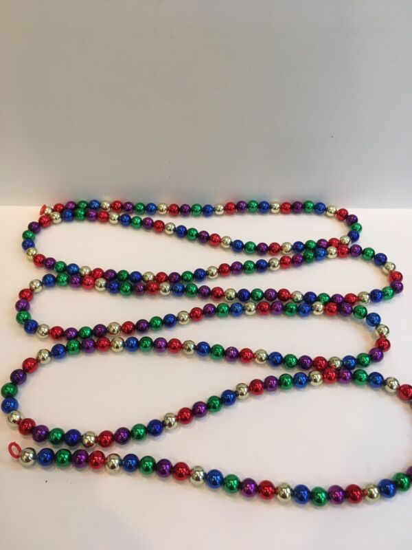 """vintage multiple Colors tree garland Beads Colorful 108"""" Long"""