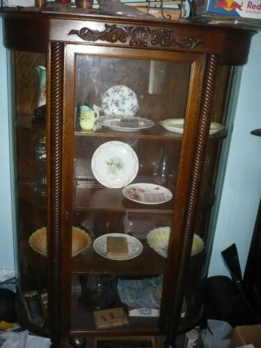 Antique  China Curio Cabinet – original finish –  curved glass must be picked up