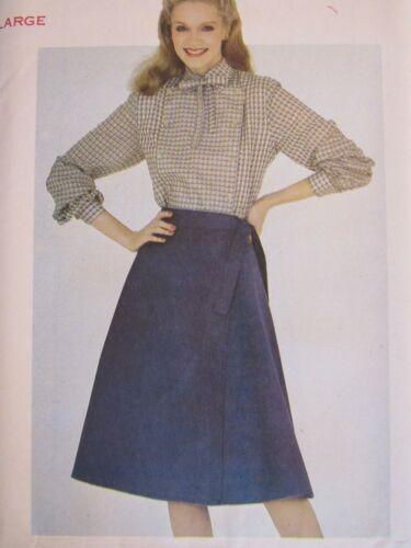 Lovely VTG 80s BUTTERICK 3690 Misses Front Wrap Skirt PATTERN Lg/30-32W UC