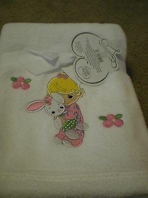 Precious Moments White/Pink Plush Baby Girl Blanket 30