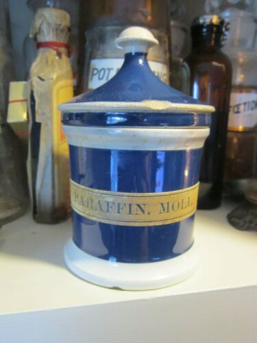 1800s Ceramic Apothecary Ointment Jar with Lid ~ Pharmacy Container Bottle