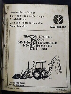 New Holland Tractor Litter Backhoe Service Parts Catalog
