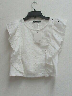 Zara White Cotton Floral Crop Top Women's Size M