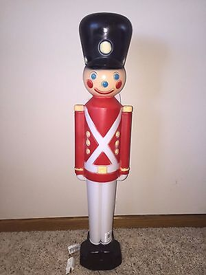"""New 31"""" Christmas Lighted Blow Mold Toy Soldier Yard Decoration"""