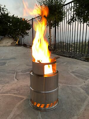 """Camping Outdoor Cooking Stove Bonfire 12"""" x 8"""" Round Stainless Steel Fire Pit"""