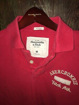 Men's Abercrombie & Fitch Muscle Fit Graphic Polo, Sz M, Red