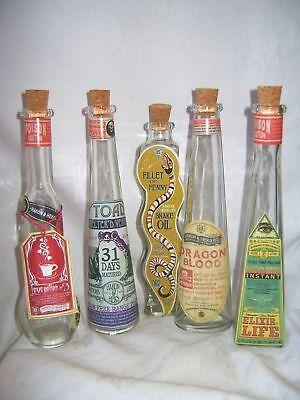 Neu 5 Spaß Apotheker Zaubertrank Flaschen Schlangen Öl Liebe,Leben DRAGON'S Blut ()