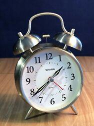 Old Fashioned Sharp Quartz Model SPC800 Alarm Clock Silver Tone Twin Bells