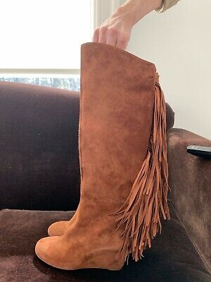 CHRISTIAN LOUBOUTIN  POULICHE Suede Fringe Tall Wedge Boots Brown 37 EU