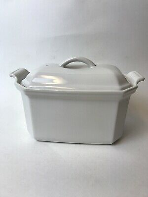 Le Creuset Ceramic Terrine .72 QT 7.8 Inch With Lid & Press Heritage  White