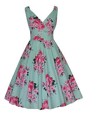 VINTAGE PARTY BRIDESMAID MINT PINK FLORAL COTTON TEA DRESS NEW SIZE 16