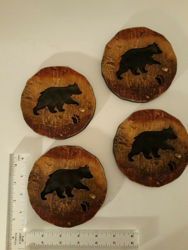 Large Bear Coasters - Rustic Woodland Cabin Theme - Chunky Heavy Resin