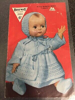 VINTAGE DOLLS CLOTHES KNITTING PATTERN ONLY VINTAGE TO FIT 18 - 20 INCH DOLL