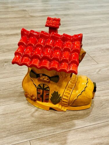 """Cookie Jar Old Woman In A Shoe Vintage Hand-Painted Pottery 14"""" x 12"""""""