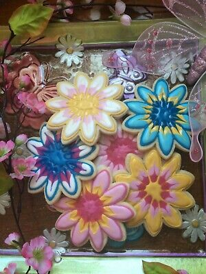 Homemade Spring Flower Sugar Cookies with Cream Cheese Icing - 4 1/2