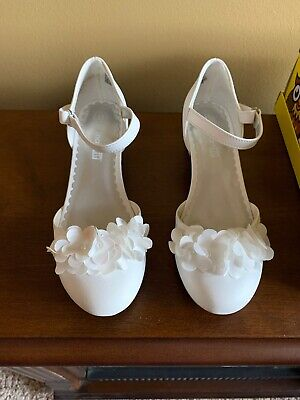 Flower Girls Shoes White (Girls White Shoes Flowered Size)