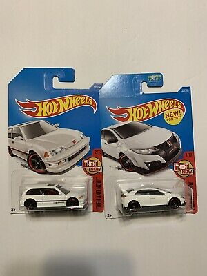 2017 Hot Wheels #330 Then and Now '90 Honda Civic EF And 16 Honda Civic Type R