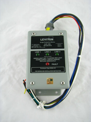 Leviton 32120-DY3 120/208V 3Ph WYE Delta Surge Panel DHC X10 Comp 80Ka L-N Max