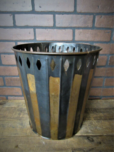 "Rare Vintage Antique Japanned Finish Trash Can Copper Finish Industrial Can 14""T"