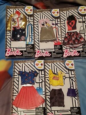 Barbie DC COMICS GIRL POWER 5 pc. Fashion Pack ,BAT GIRL,WONDER WOMAN,SUPER GIRL
