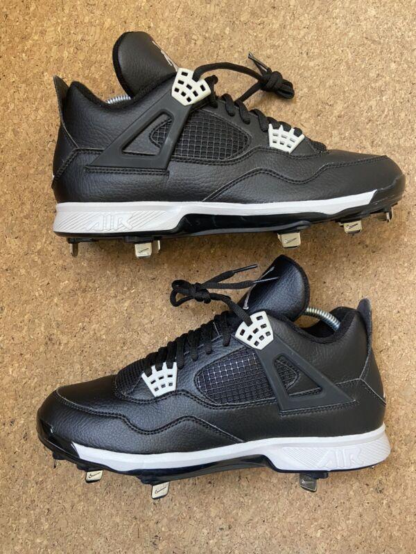 Nike Air Jordan IV 4 Retro Baseball Cleats Size 9 Black Tech Grey 807710-010