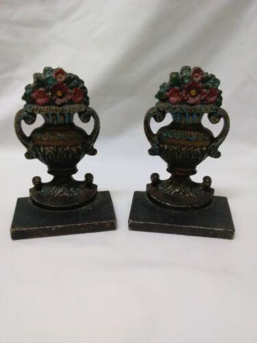 Bradley & Hubbard Antique Bookends Original Painted Flower Urns
