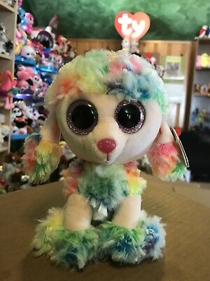 """Ty RAINBOW -Multicolored Tie-Dye Poodle Dog 6"""" Beanie Boo! *NEW*"""