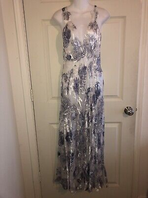 """NWT Sultry Mary Green Sheer """"Fine China""""  Print Slip/Dress Nightie/Chemise-L ()"""