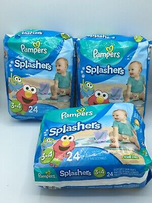 72 Ct Pampers Splashers Disposable Swim Pants Swimming Diapers Size 3-4.New