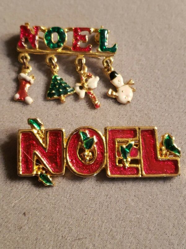 Lot Of Two NOEL Christmas Pins Brooches.  Enamel. Tree Snowman Candy Charms